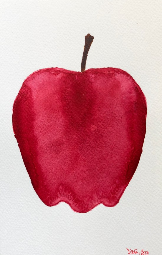 The Apple, watercolor painting on paper by Denise Genova