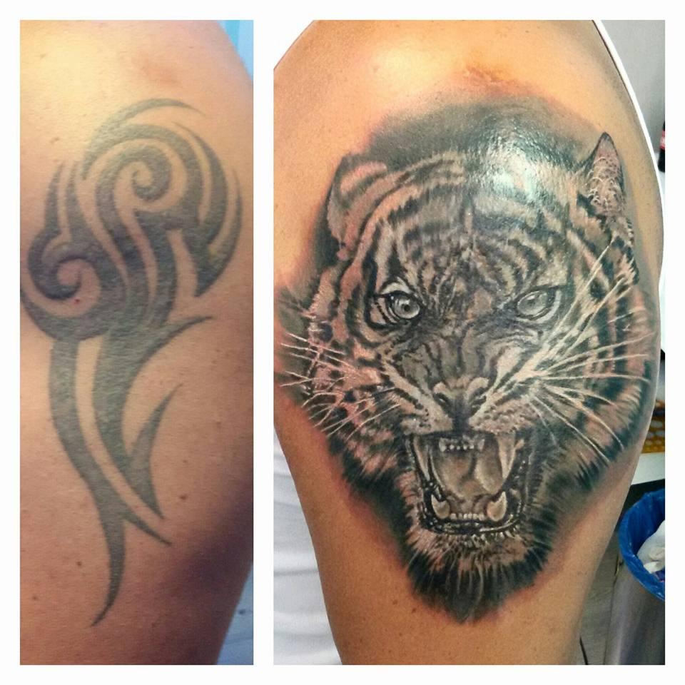 Colibri Tattoo Uomo tatuaggio tigre per coprire un tribale - denis trevisani