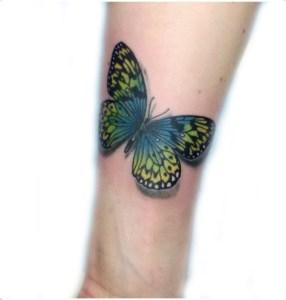 Tatuaggio farfalla giallo e blu