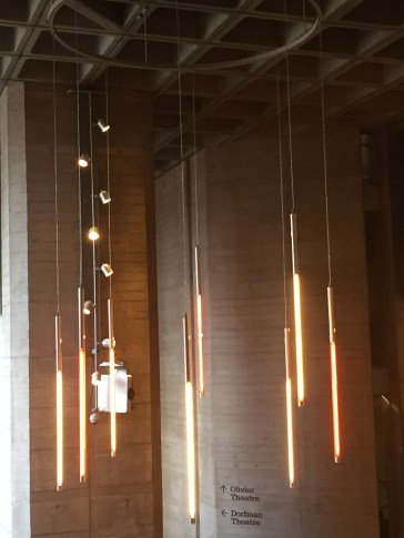 Suspended lighting in the Olivier Theatre lobby Southbank London