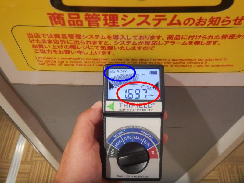 盗難防犯ゲートの電磁波測定