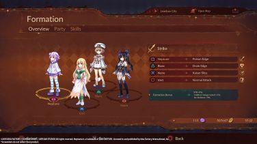 Super Neptunia RPG menu formation