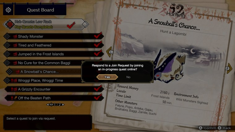 quest board in monster hunter rise