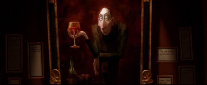 Screenshot: Gewaltiges Gemälde von Anton Egos Wenigkeit über seinem Schreibtisch.