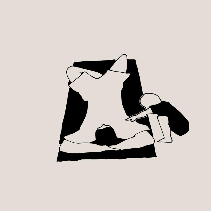 Panel 4: Ein neugieriges Kind kommt näher: «Schläfst du?»