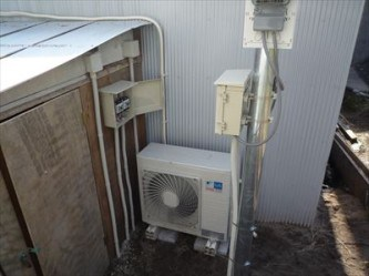 低温用エアコン配管工事完了