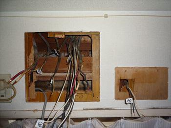 古い住宅分電盤撤去