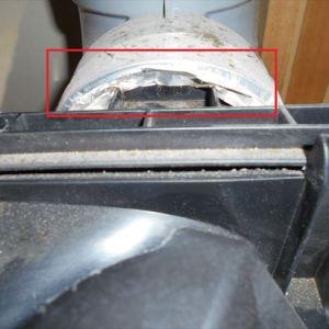 ダクト接続口の隙間で換気しない日立WK-10BH