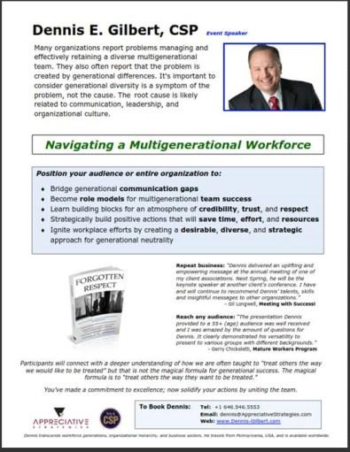 Dennis Gilbert CSP Navigating multigenerational workforce generations