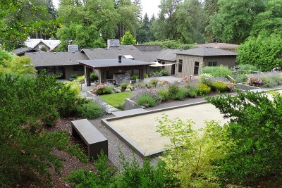 residential landscape bocce ball court