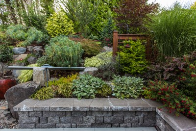 hardscaped retaining wall with a variety of plants