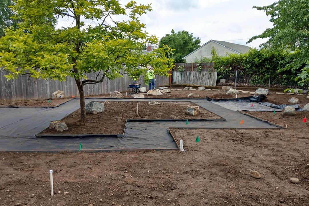 residential landscaping construction progress