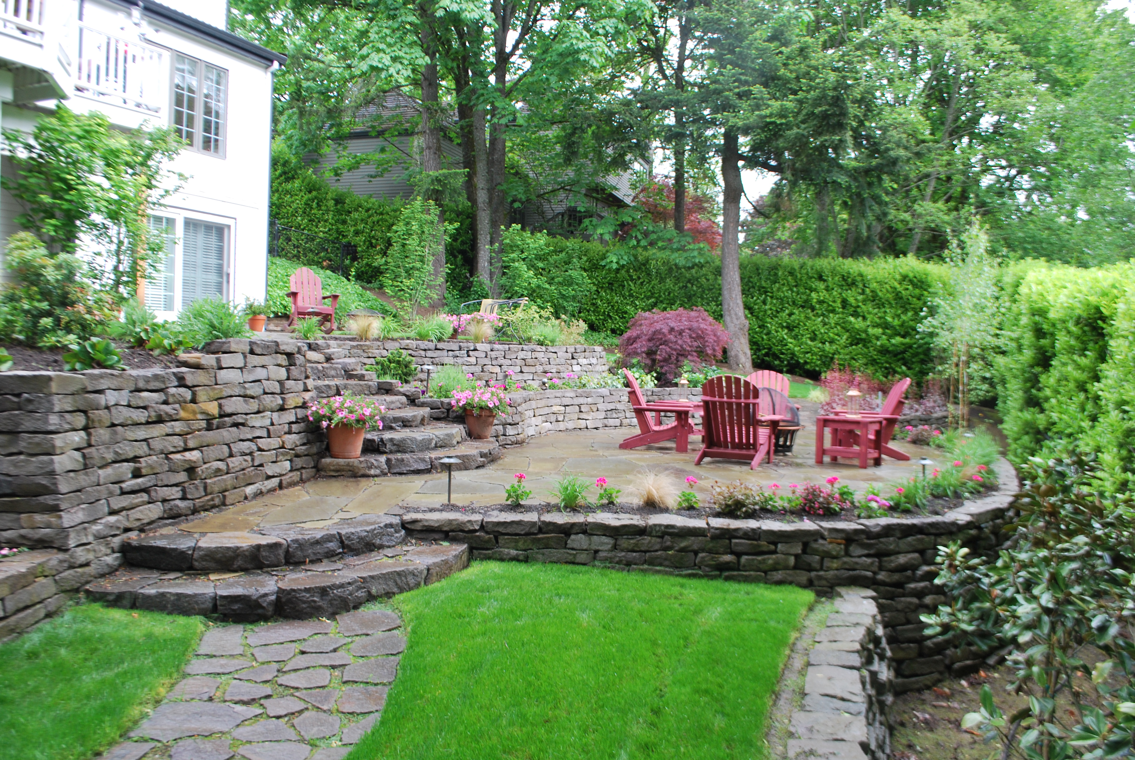 Unique Landscape Design Challenge Results in a Beautiful ... on Sloped Backyard Design id=54999