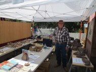 Lots of books and imitation petroglyphs for sale.