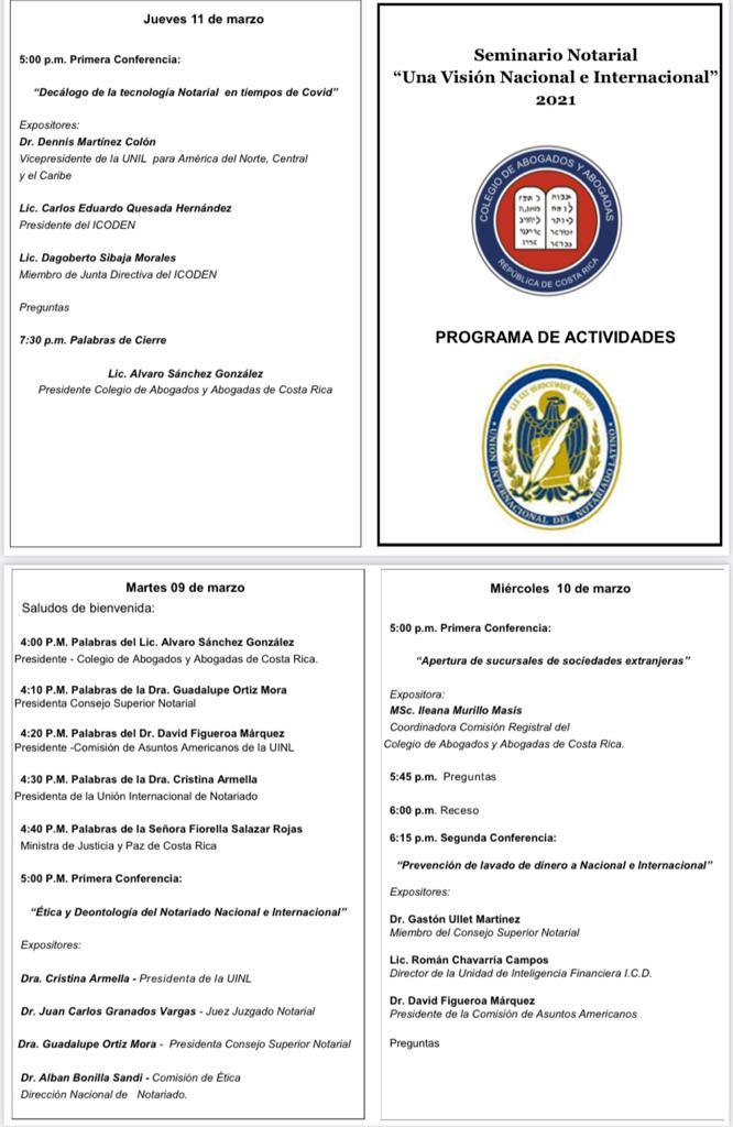 Programa de las sesiones del Seminario internacional de COSTA RICA