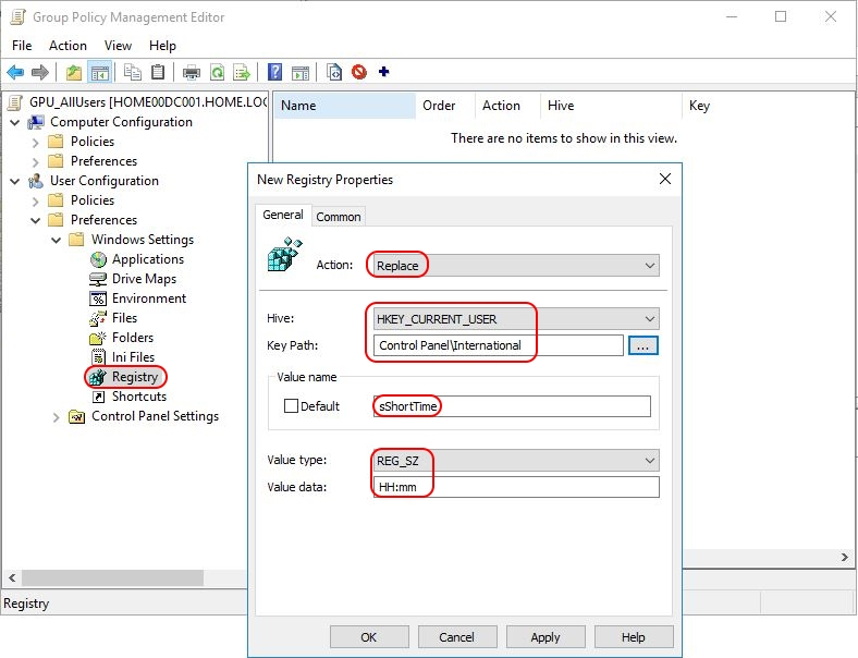 Configuring Regional Settings and Windows locales with Group Policy - Group Policy Preference set short time