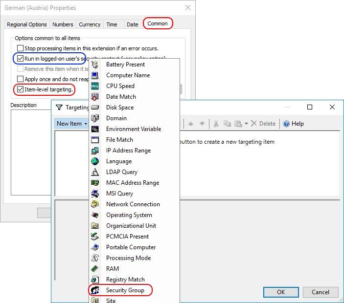 Configuring Regional Settings and Windows locales with Group Policy - Group Policy Regional Settings Item-Level Targeting