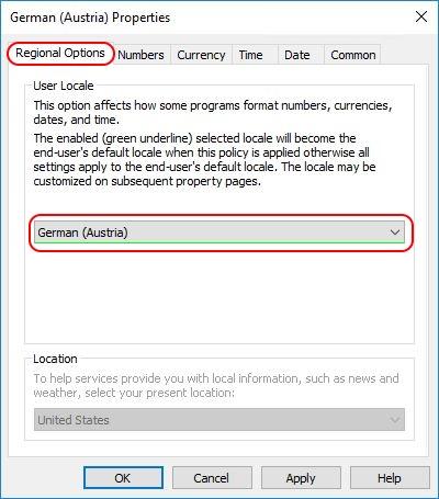 Configuring Regional Settings and Windows locales with Group Policy- Group Policy Regional Settings regional options tab