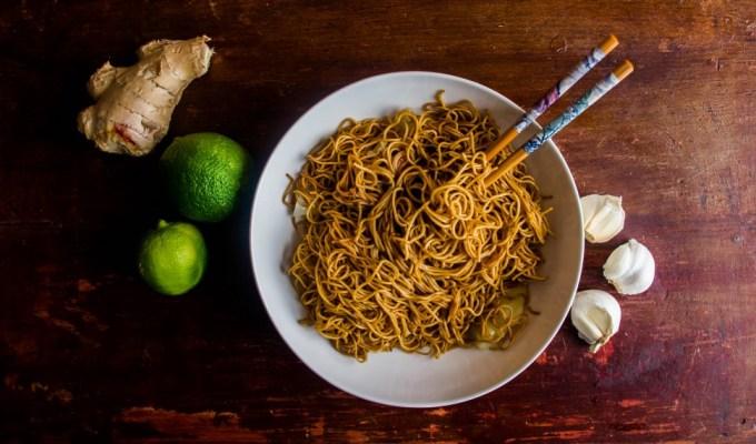Honey Garlic Ginger Noodles.