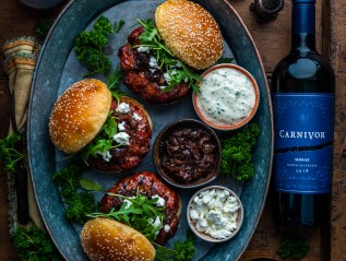Fennel Mint Lamb Burgers with Wine Caramelized Red Onions