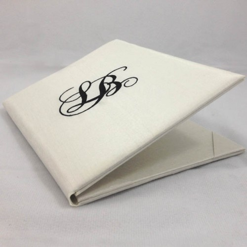 Side View Of Silk Folio With Monogram Embroidery