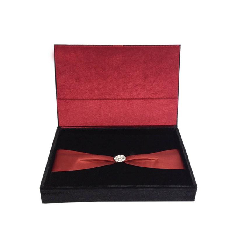Brown Velvet Wedding Invitation Box Set With Printed Insert Cards