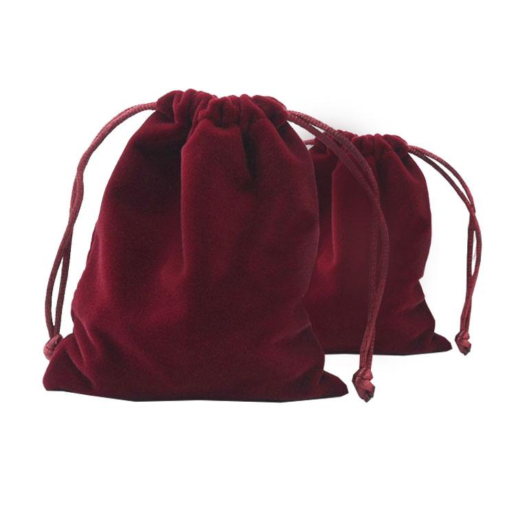 Wine Red Velvet Drawstring Bag For Wedding Favour
