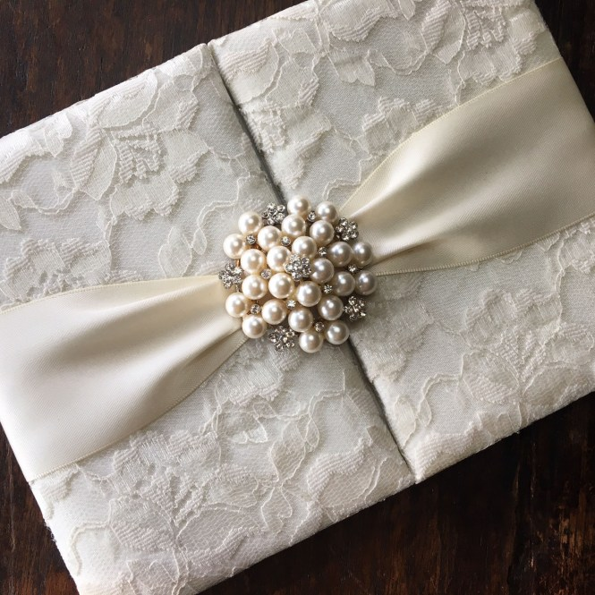 Handmade Ivory Pearl Brooch Embellished Lace Wedding Invitation Pocket Folder