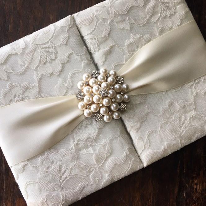 Embellished Lace Wedding Invitation