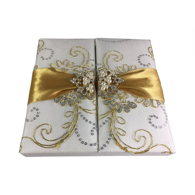 Lace Wedding Invitation Box With Pearl Crown Brooch Golden