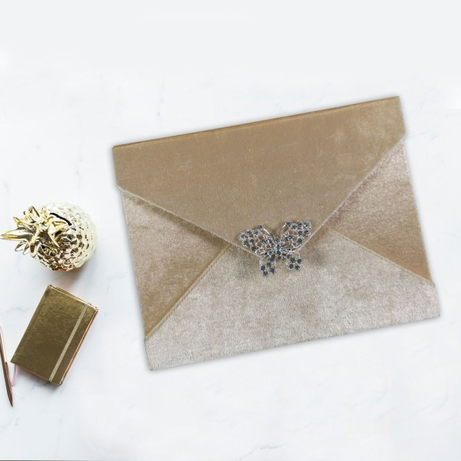 Blush Pink Velvet Invitation Envelope With Erly Crystal Brooch