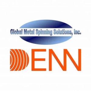 Global Metal Spinning Solutions and DENN logos