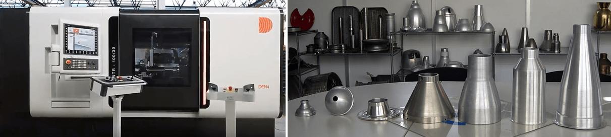 denn ntr metal spinning machine and spun sample parts, global metal spinning solutions, denn usa metal forming