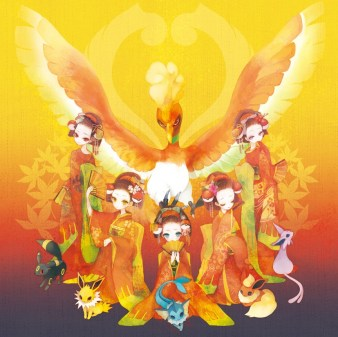 The legendary Ho-Oh with the Kimono girls and their Eevee forms.
