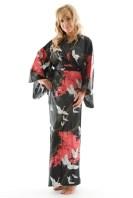 american woman crane pattern kimono