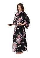 crane pattern dark kimono