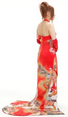 crane pattern red floral kimono