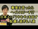 日本人が事実を言うとヘイトスピーチ!韓国に配慮し過ぎる人たちの画像