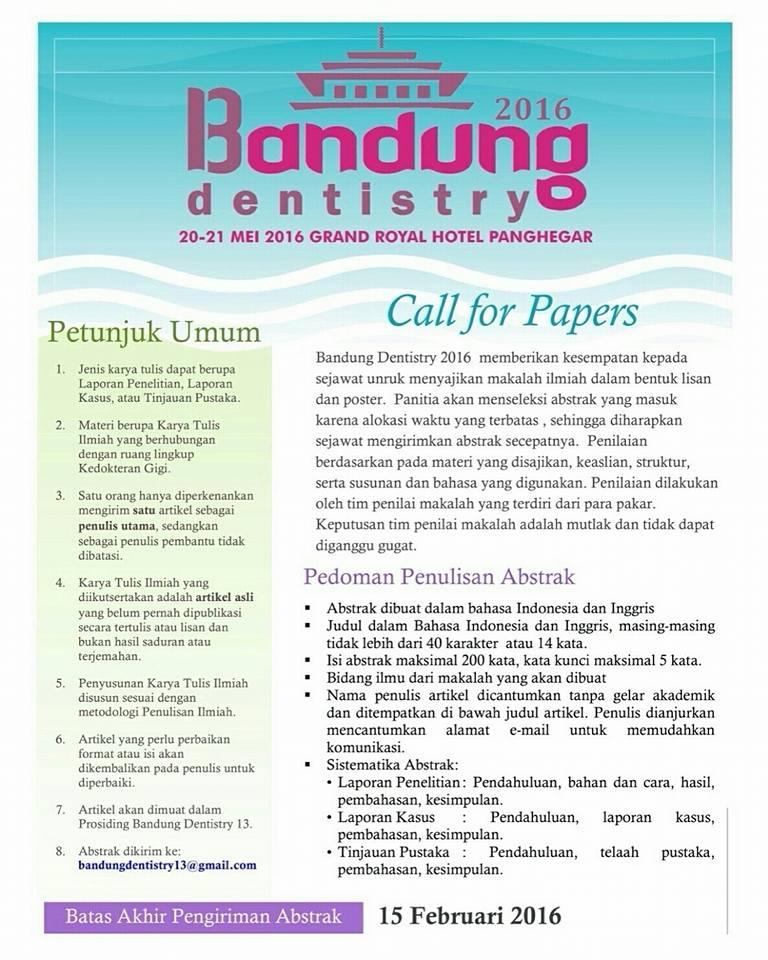 Bandung Dentistry 2016 : Call For Paper