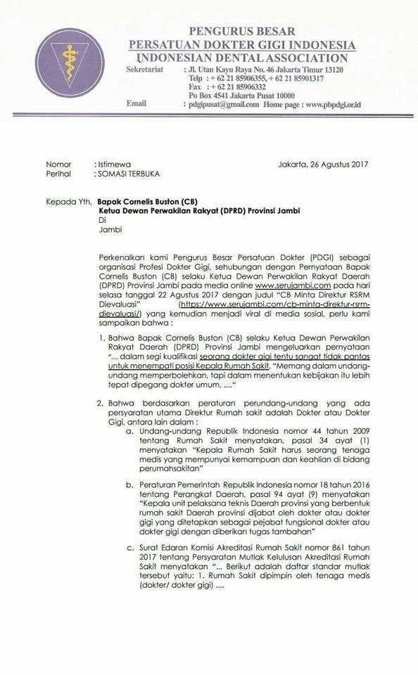 Surat Resmi Somasi Terbuka Dari PDGI Untuk Bapak Cornelis Buston