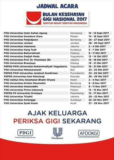 Jadwal Lengkap Bulan Kesehatan Gigi Nasional (BKGN) 2017