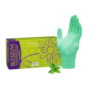 Blossom Powdered Latex Exam Gloves With Green Mint