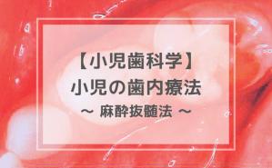 小児歯科学:小児の歯内療法 〜 麻酔抜髄法 〜