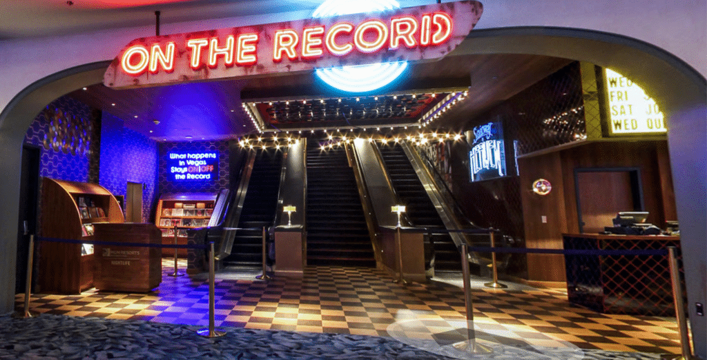 View of On The Record from the Park MGM Casino Floor