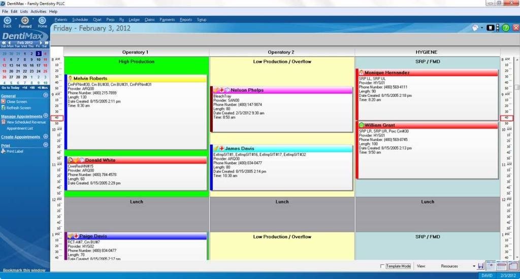 DentiMax Scheduling Screen
