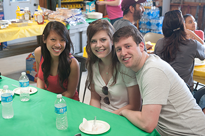 Audrey Su, dental student mentee (left), with classmate Collin Burns (right) and his wife, Audrey Burns