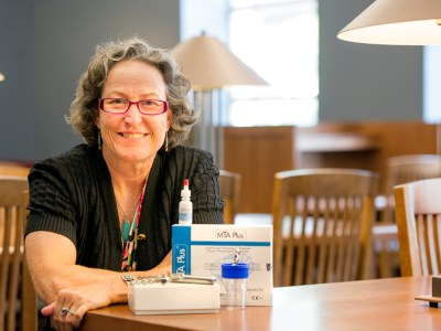 Dr. Lynne Opperman in the Baylor Health Sciences Library in Dallas