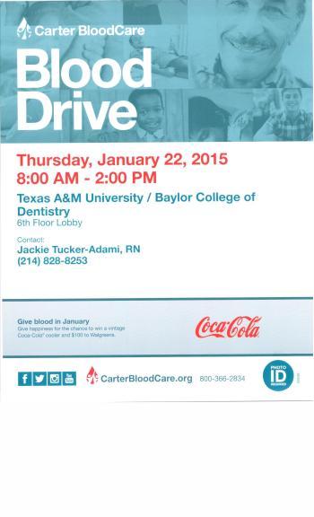 Jan. 22, 2015 Blood Drive Flier