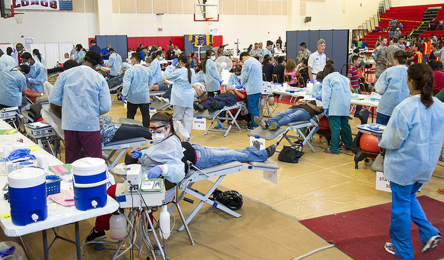 The Palmview High School gym is converted into one of five command centers where free medical and dental care is provided as part of the full-scale emergency response exercise.