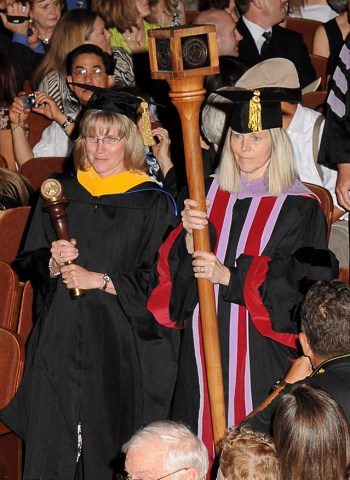 Muzzin, left and Mash at 2009 commencement exercises